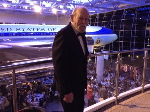 Bill with Air Force One in the background.